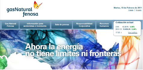 Captura do web de Gas Natural FENOSA