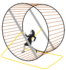 Executiva agressiva a correr numha roda de hamster. (CC – BY 4.0)