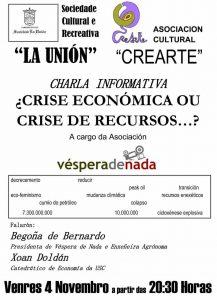 Palestra en Sarria: «Crise económica ou crise de recursos?» (4 de novembro)