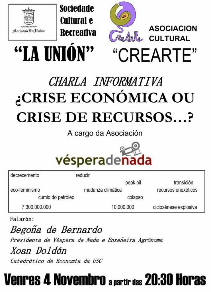 Begoña de Bernardo e Xoán Doldán: Crise económica ou crise de recursos?