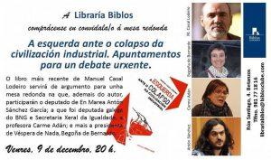 Debate político entorno á esquerda e o colapso, este venres 9-dec. en Betanzos