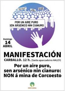 Véspera de Nada únese á manifestación deste domingo 14 de abril en Carballo contra a mina de Corcoesto