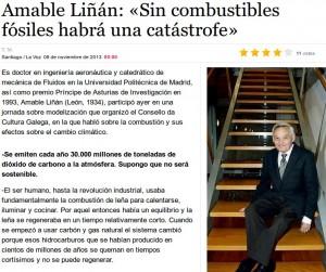 Amable Liñán advirte de que a fin dos combustibles fósiles será «una catástrofe» da que ninguén asumirá a culpa