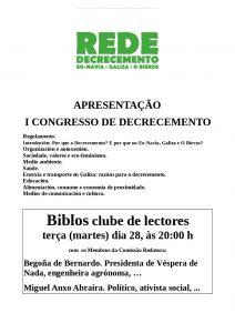 Apresentaçom em Betanços do I Congresso de Decrescimento